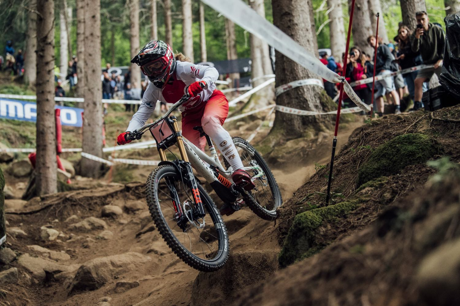 Camille Balanche competing at the 2021 UCI Downhill MTB World Championships
