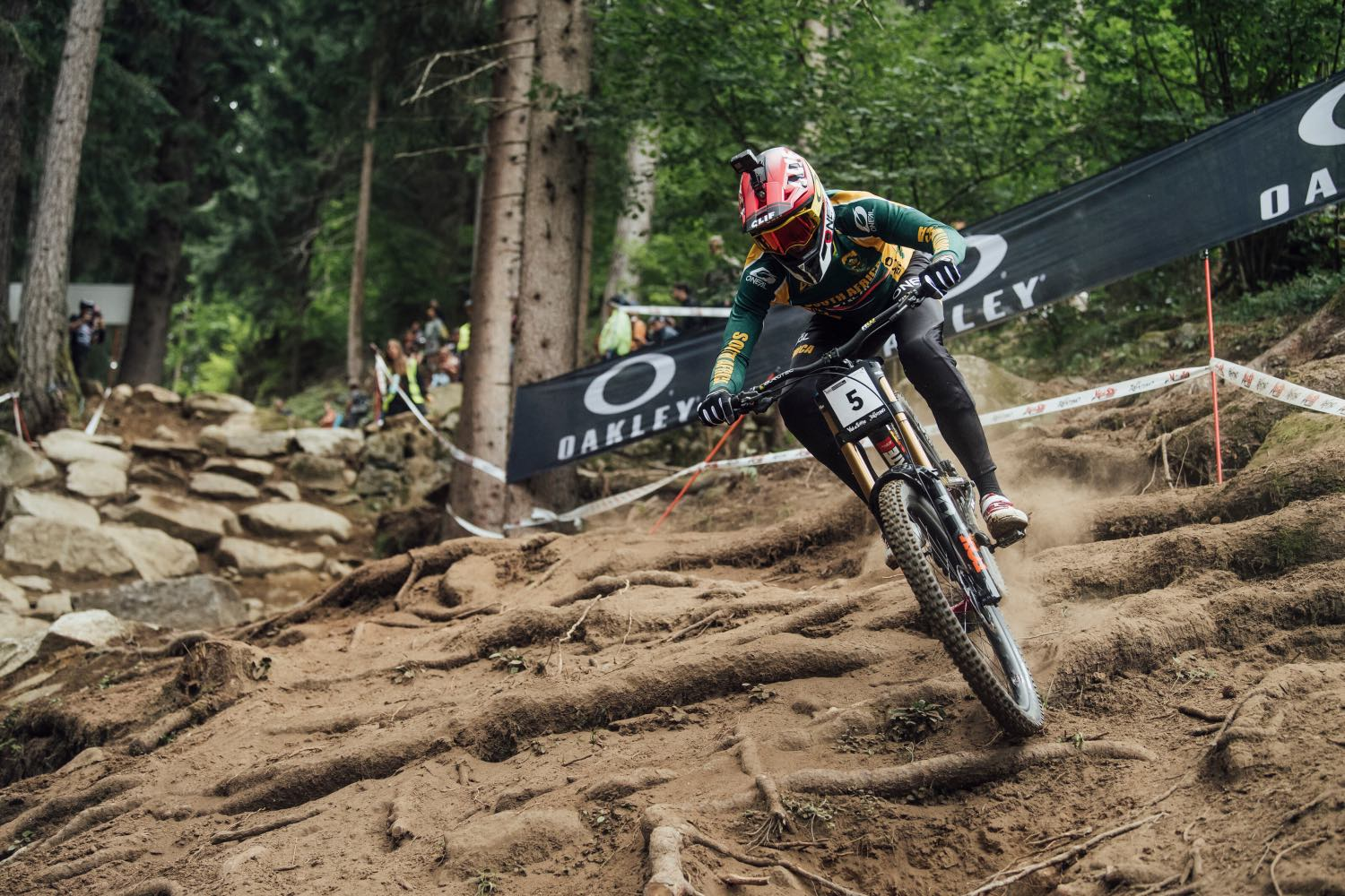 Greg Minnaar competing at the 2021 UCI Downhill MTB World Championships and winning his fourth title.