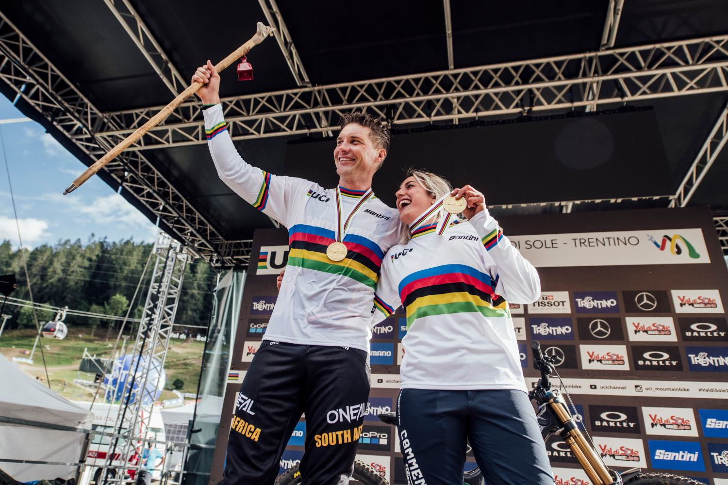 Greg Minnaar and Myriam Nicole celebrates at UCI DH World Championships in Val di Sole