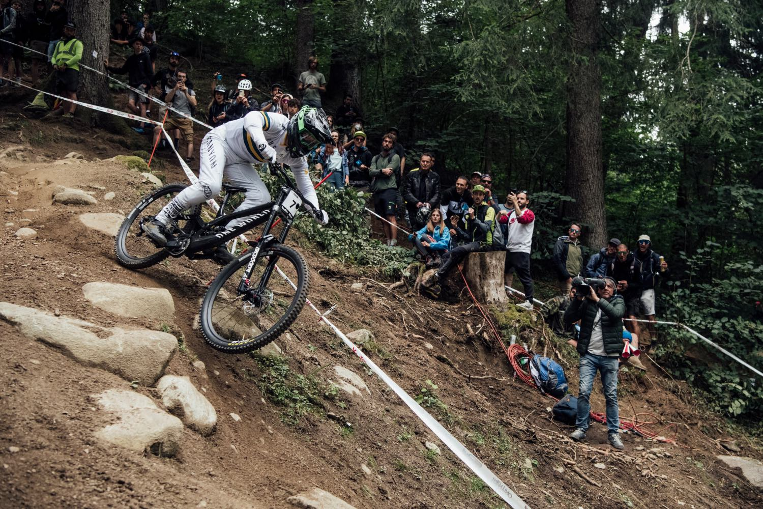 Troy Brosnan competing at the 2021 UCI Downhill MTB World Championships