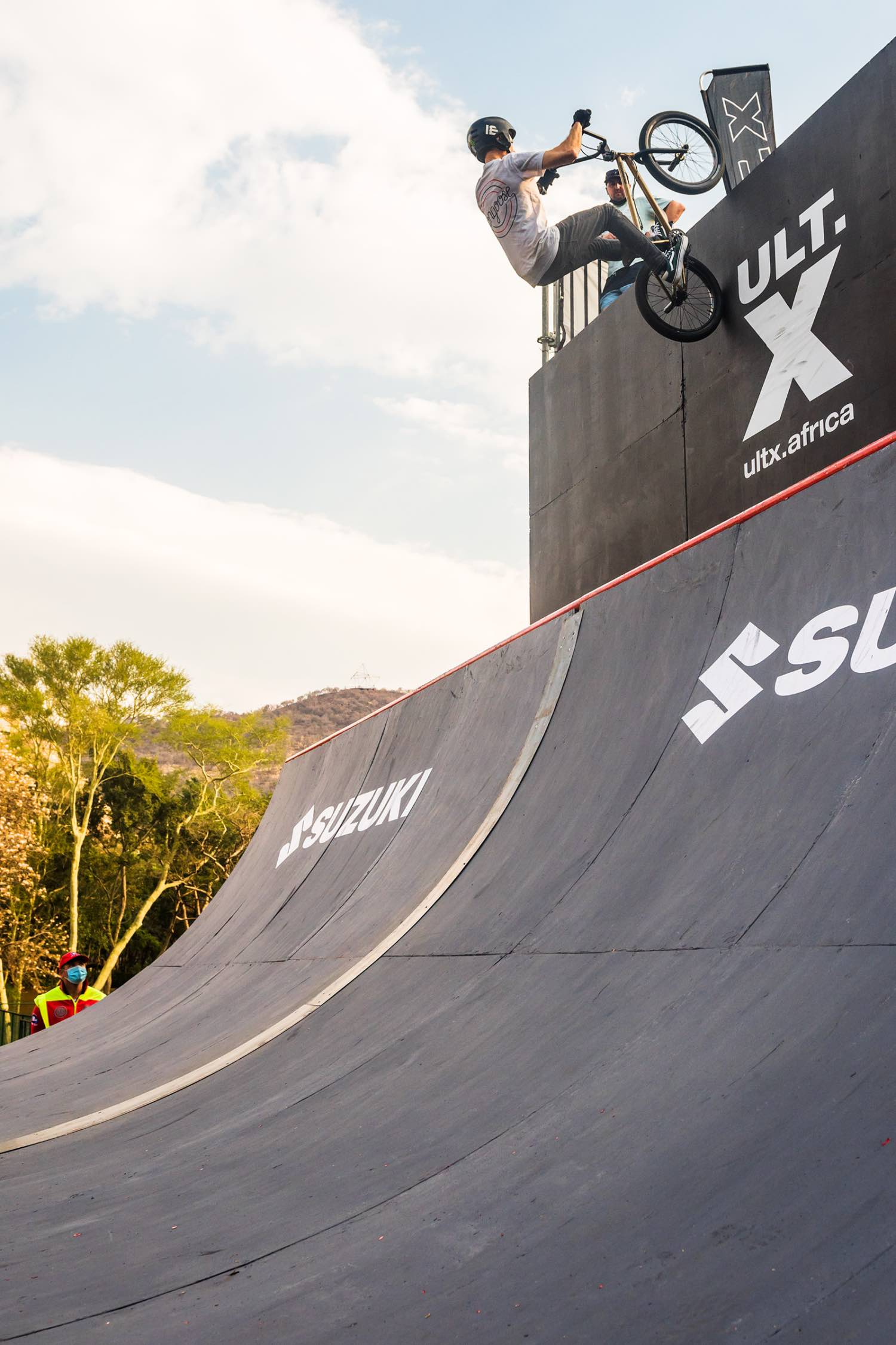 Francois Bodenstein competing in the BMX contest at ULT.X 2021