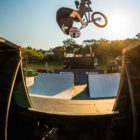 Dylan van Belkum competing in the BMX contest at ULT.X 2021