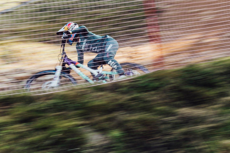 Myriam Nicole winning the fourth round the 2021 UCI Downhill MTB World Cup in Lenzerheide.