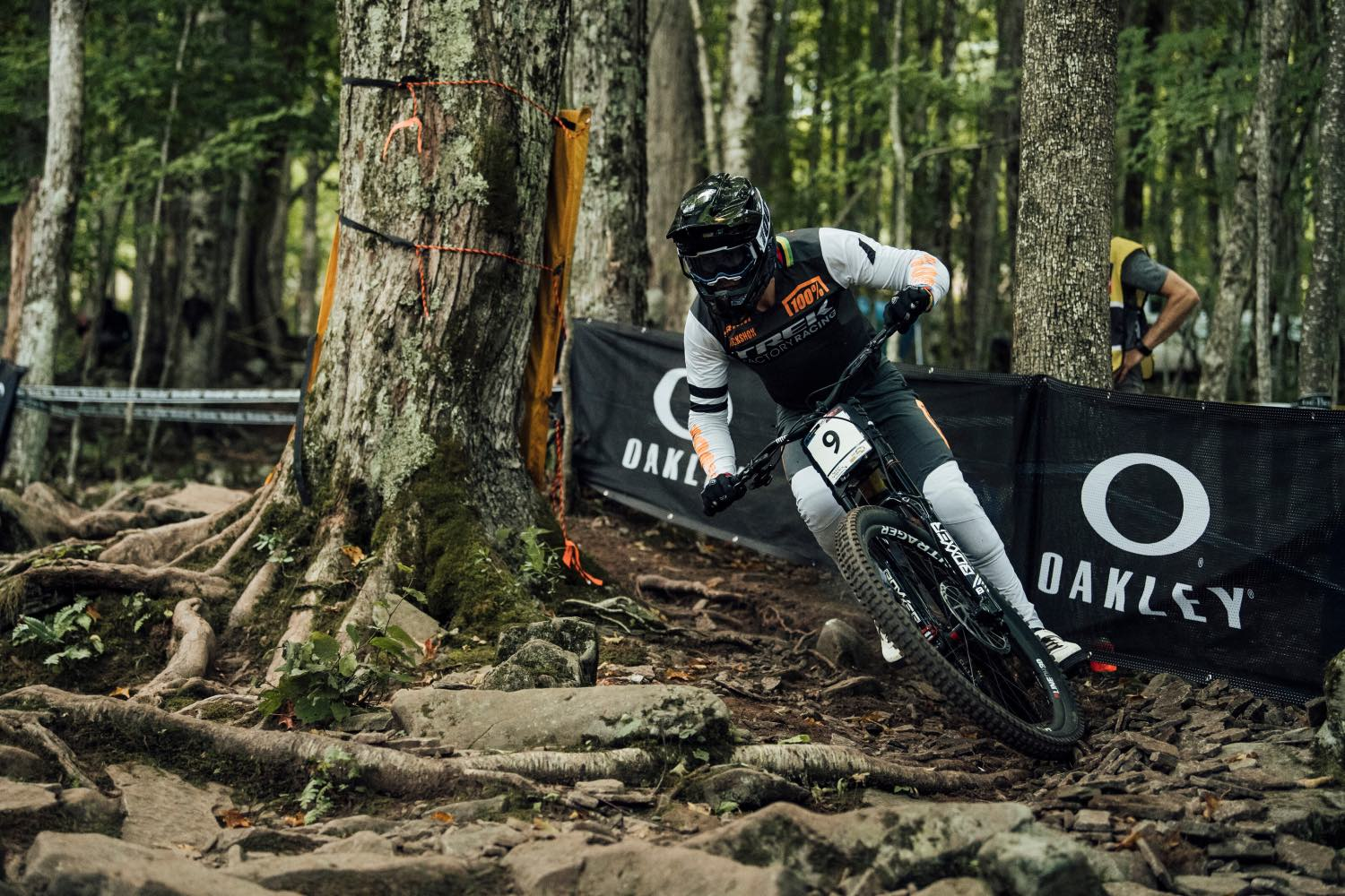 Reece Wilson racing the 2021 UCI Downhill MTB World Cup in Snowshoe, USA