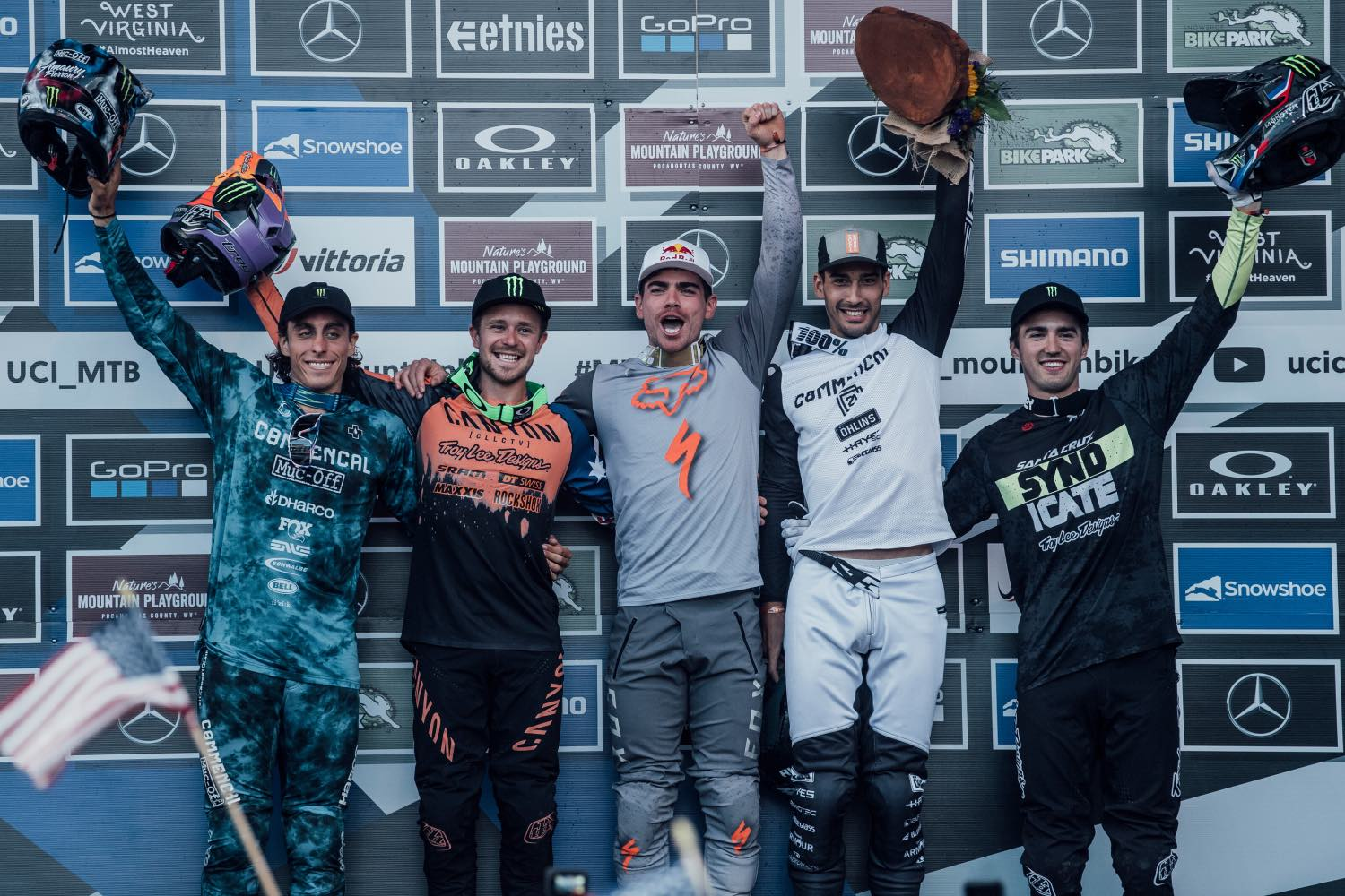 Men's podium from the final round of the 2021 UCI Downhill MTB World Cup
