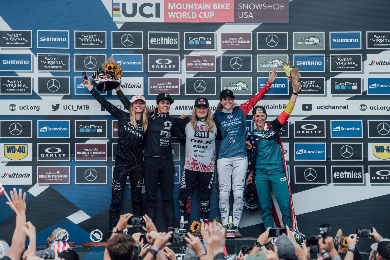 Women's podium from the final round of the 2021 UCI Downhill MTB World Cup