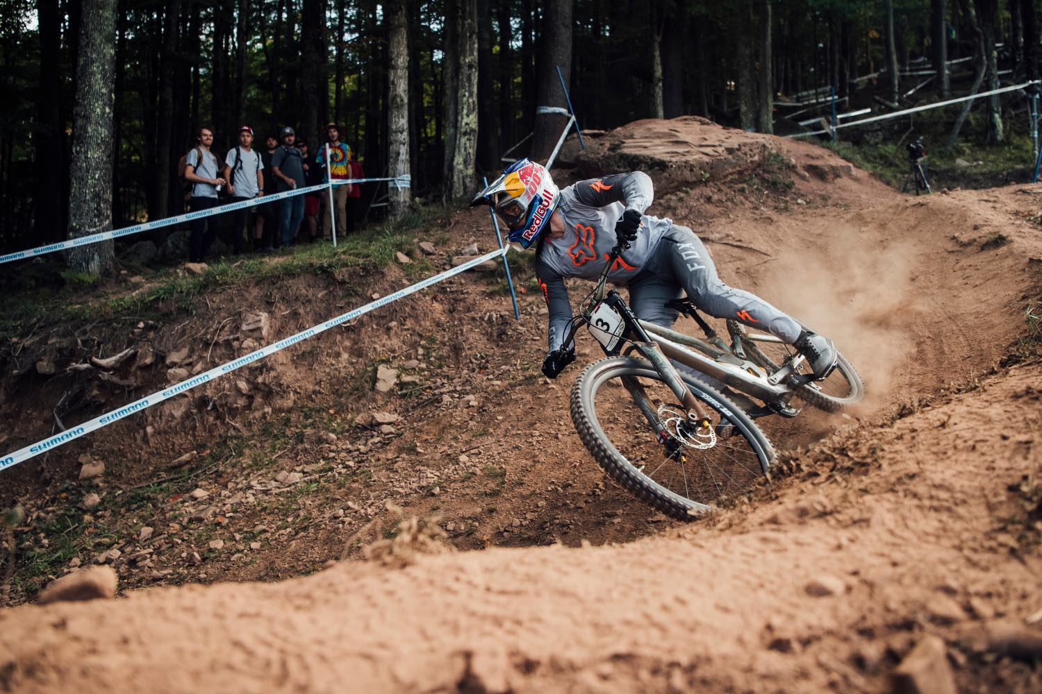 Loic Bruni racing the final round of the 2021 UCI Downhill MTB World Cup