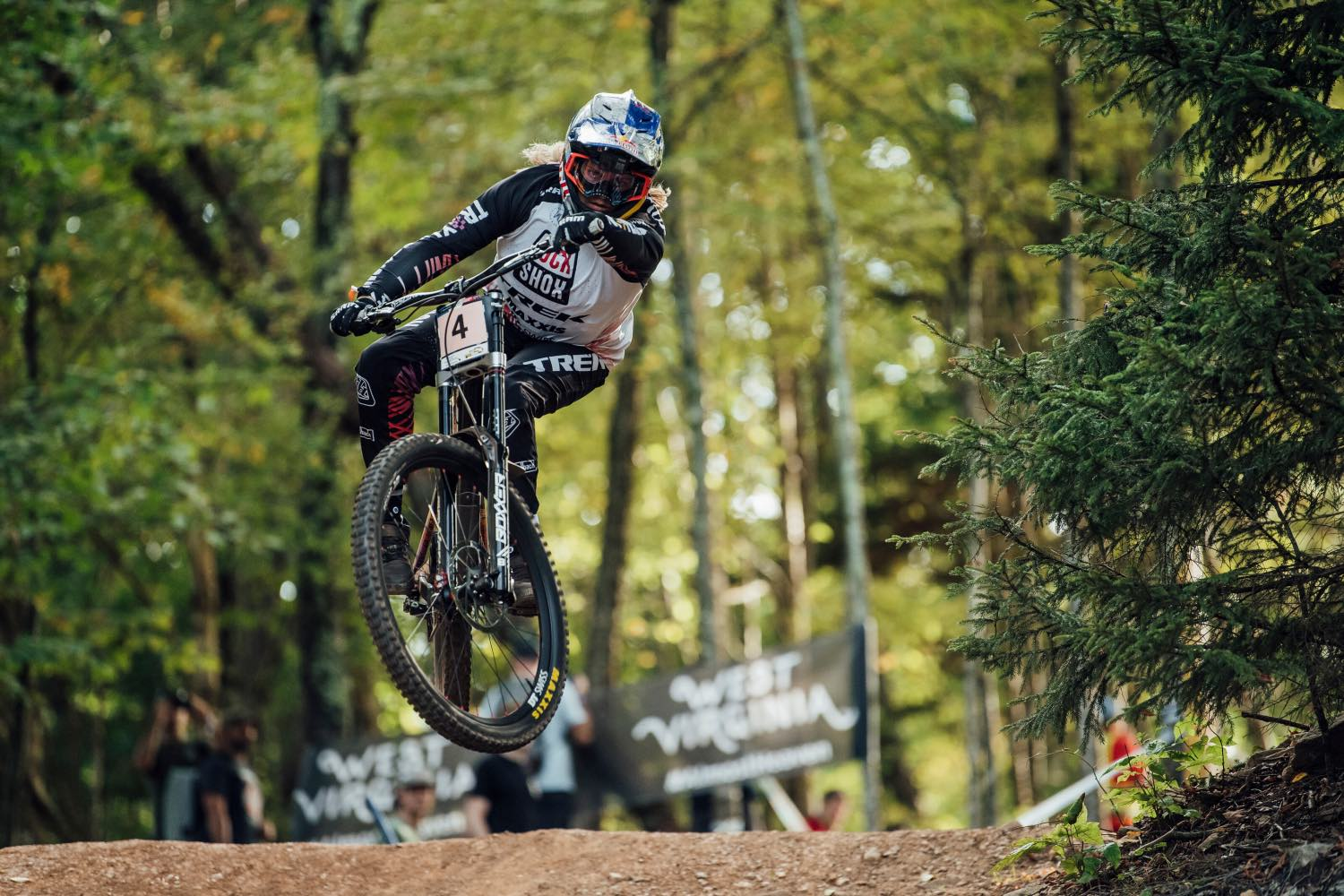 Vali Holl racing the final round of the 2021 UCI Downhill MTB World Cup