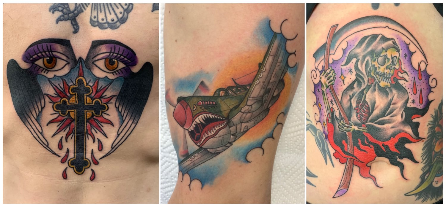 Traditional tattoos done by Ross Hallam