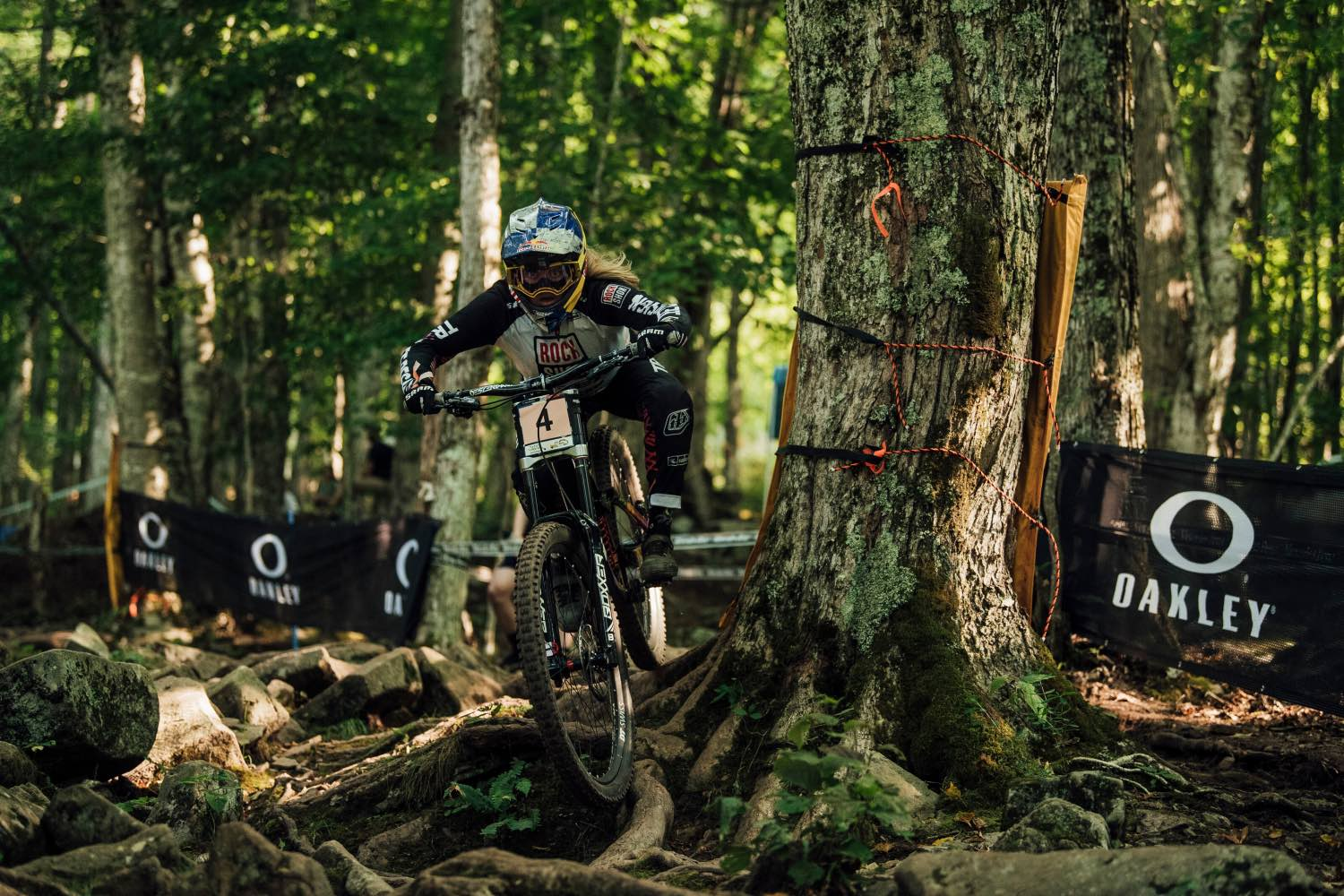 Vali Höll racing the 2021 UCI Downhill MTB World Cup in Snowshoe, USA