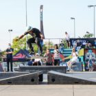 Skateboarder competing at the Street Lines Skate Tournament