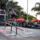 Khule Ngubane competing at the Street Lines Skate Tournament