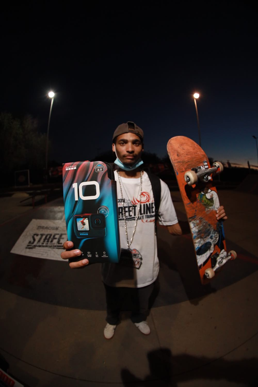 Allan Adams winning the GoPro Hero10 at Street lines